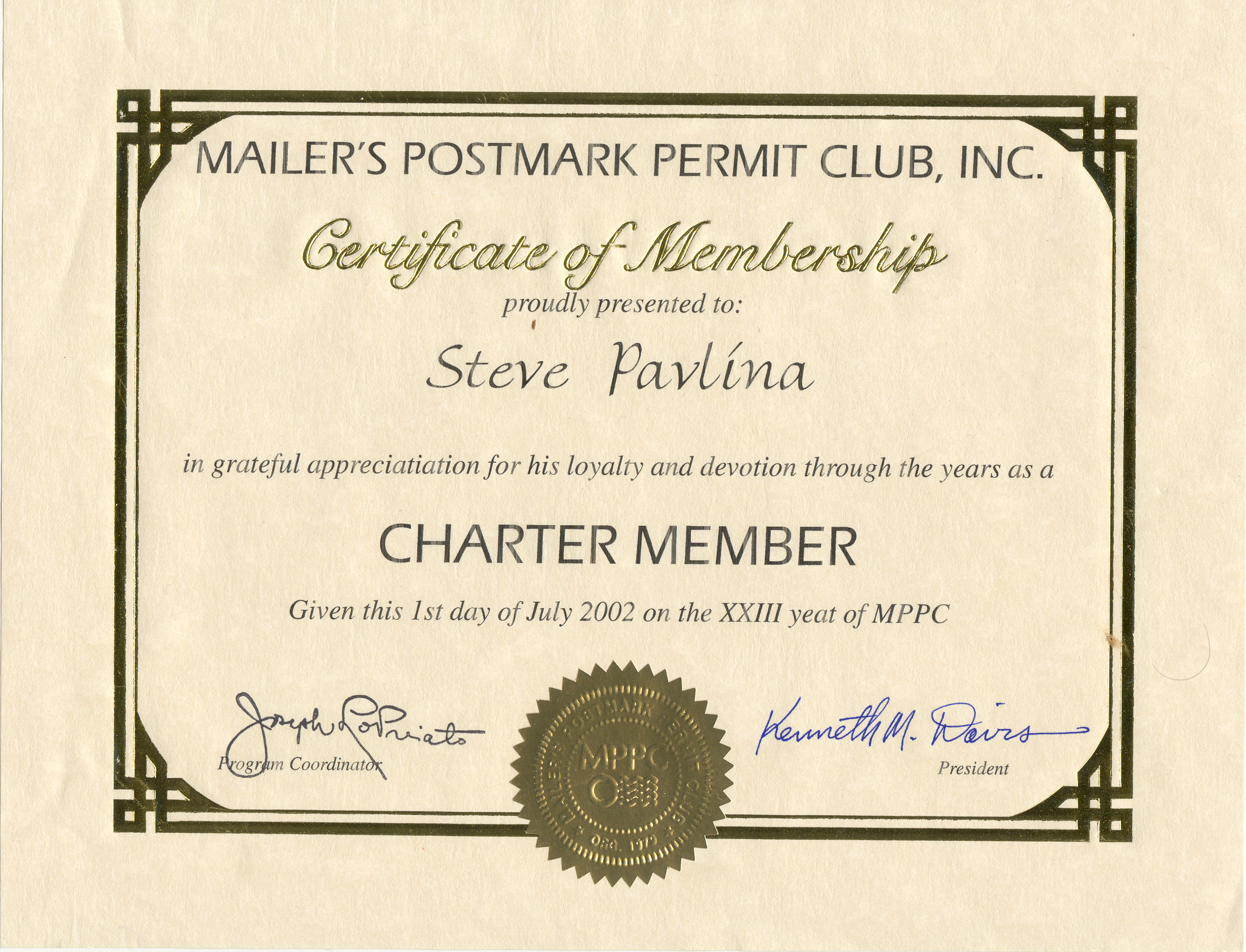 Scott A. Shaulis Stamps  Membership Certificates Templates